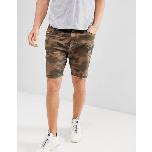 slim denim shorts in camo - green marki Bershka