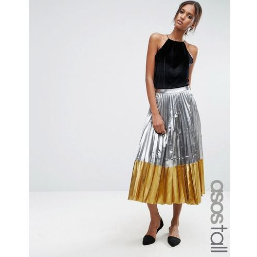 ASOS TALL Pleated Midi Skirt In Metallic With Contrast Hem - Silver