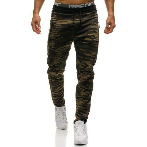 Spodnie męskie dresowe moro-zielone Denley HL8498, kolor zielony