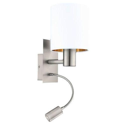 Kinkiet Eglo Pasteri 96484 lampa ścienna 1x40W E27 + 1x3,5W LED biały/miedź/nikiel