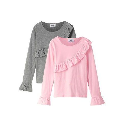 Bonprix Koszulka + spódniczka tiulowa (2 części) biało-stary róż
