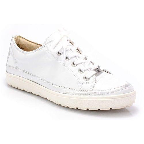 9-23654-20 białe - trampki skórzane - biały ||srebrny marki Caprice