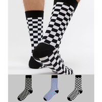 Asos design socks with checkerboard design 3 pack - multi