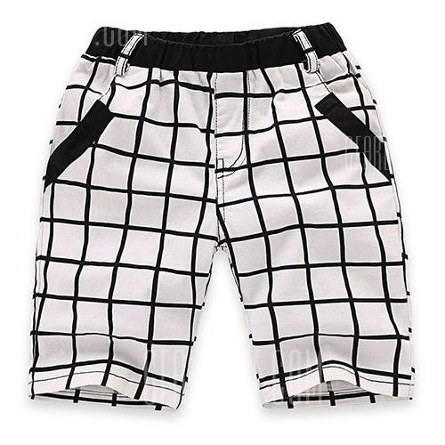 Fashionable Elastic Waist Pocket Design Plaid Shorts For Boy