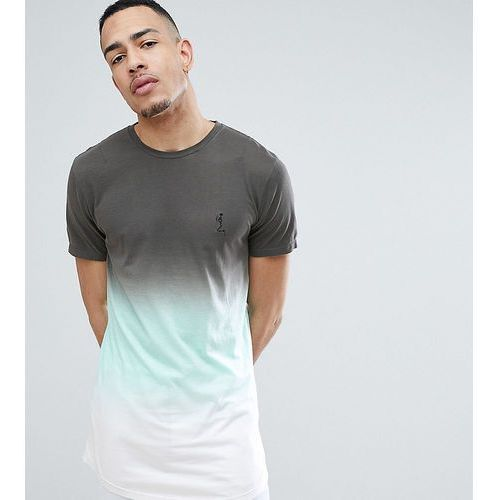 Religion tall longline t-shirt with curved hem in colour fade - green