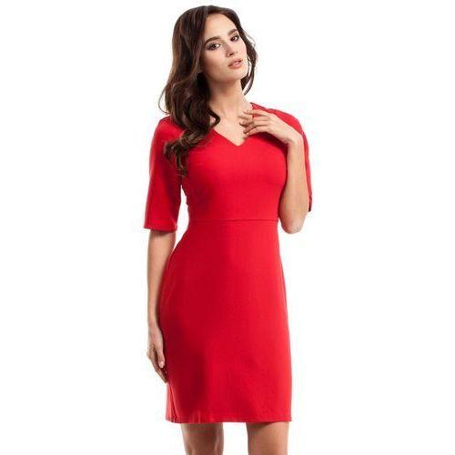 Czerwona Ołówkowa Sukienka Midi z Dekoltem w Szpic, kolor czerwony