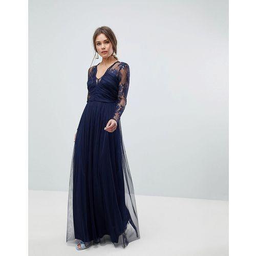 ASOS Lace Maxi Dress with Long Sleeves - Navy, kolor niebieski