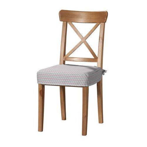 Dekoria  siedzisko na krzesło ingolf, przestrzenny wzór w różowo-szarej kolorystyce, krzesło inglof, rustica