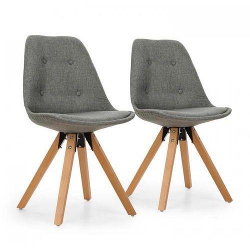 Oneconcept iseo krzesło kubełkowe 2 szt. tapicerowane drewno brzozowe szare