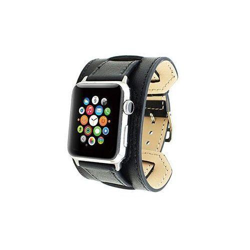 Pasek skórzany Cuffs Mankiet Apple Watch 38mm - Czarny, kolor czarny