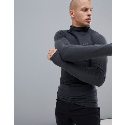 ASOS 4505 muscle long sleeve t-shirt with seamless knit and acid wash - Black