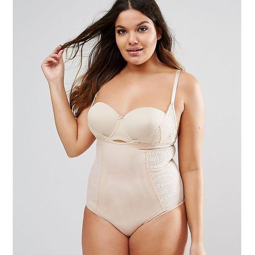ASOS CURVE SHAPEWEAR New Improved Fit Wear Your Own Bra Lace Body - Beige, kolor beżowy