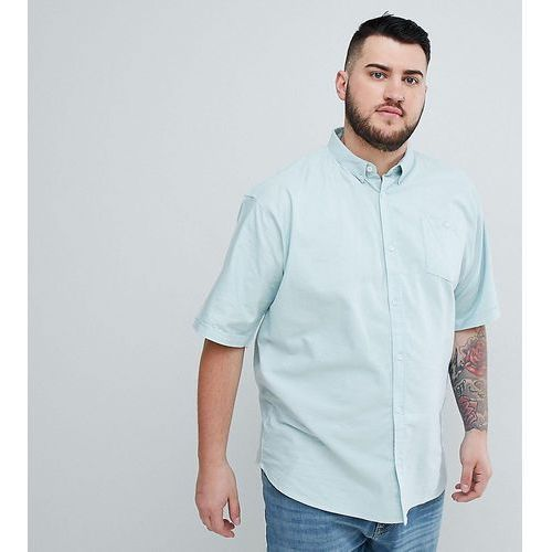 plus basic oxford short sleeve shirt - blue, D-struct, XXL-XXXXL