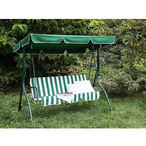 Beliani Huśtawka zielono-biała - meble ogrodowe - stal - ławka - chaplin (4260580936021)