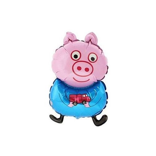 Balon foliowy do patyka Świnka Peppa niebieska - 32 cm - 1 szt.