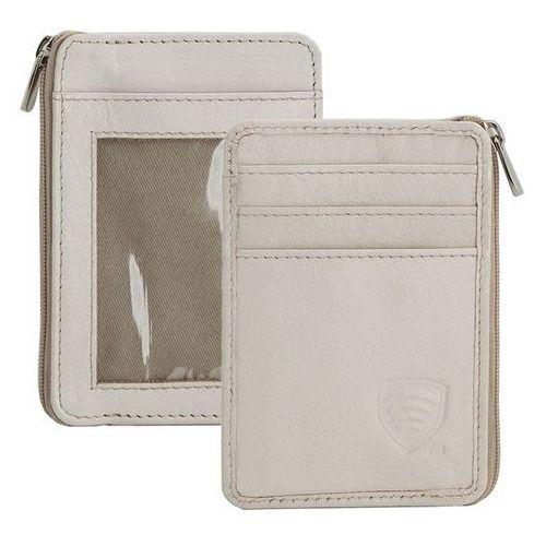 Mały skórzany portfel na karty zamykany na zamek (Kremowy) - Kremowy z kategorii etui i pokrowce