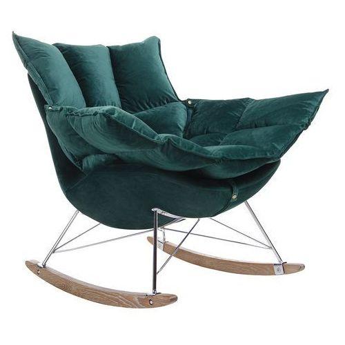 Tapicerowany fotel bujany z miękkim siedziskiem swing velvet marki King home