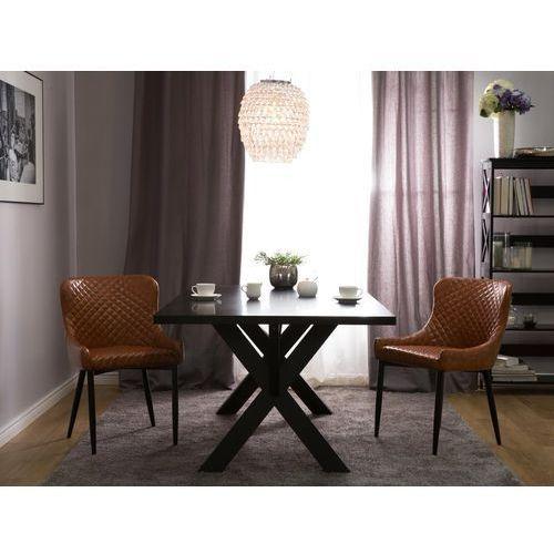 Zestaw do jadalni 2 krzesła old style brąz skóra ekologiczna solano marki Beliani