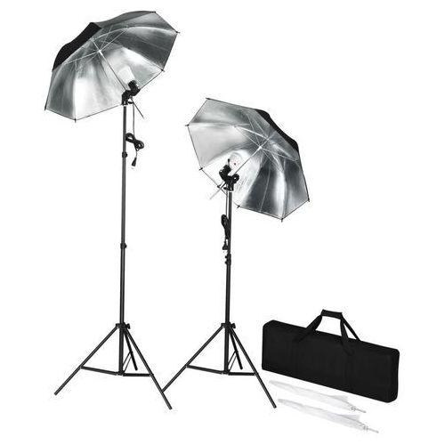 Vidaxl przenośny zestaw stroboskopów do studio ze statywami i parasolkami