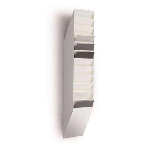 Uchwyt ścienny na prospekty, format pionowy, 12 x DIN A4, opak. 2 szt., biały. N