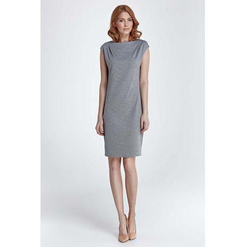 Szara sukienka prosta klasyczna przed kolano marki Nife