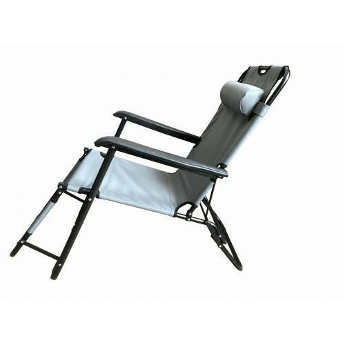 Leżak Rozkładany Plażowy Ogrodowy Szary Łóżko Polowe, LE05-SZ