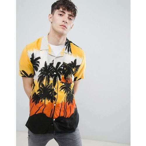 D-struct revere collar palm print shirt - orange