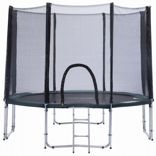 OKAZJA - Athletic24 305 cm - trampolina ogrodowa z siatką zabezpieczającą + drabinka gratis! - zielony