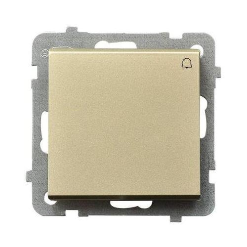 Przycisk dzwonek Ospel Sonata ŁP-6R/M/39 10AX IP20 szampański złoty