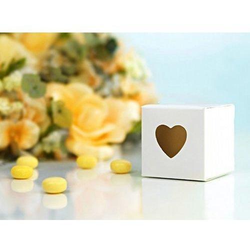 Pudełeczka dla gości z sercem białe - 10 szt.