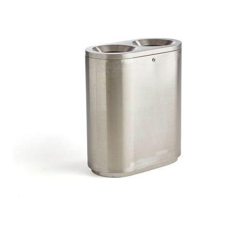 Pojemnik do segregacji odpadów CLARK, stal nierdzewna, 2x48 L