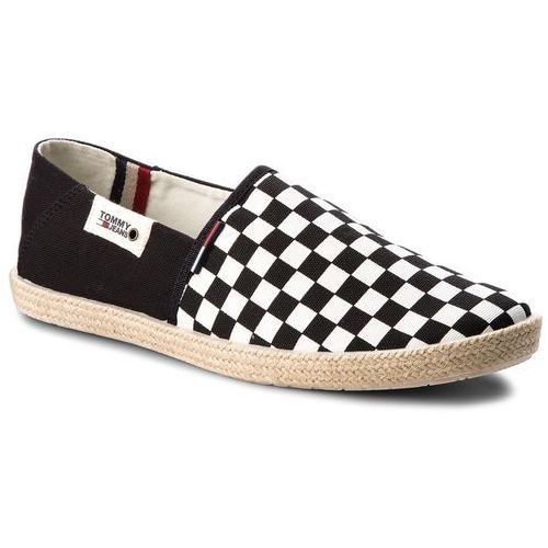 Espadryle TOMMY JEANS - Check Slip On Shoe EM0EM00098 Black White Check 901