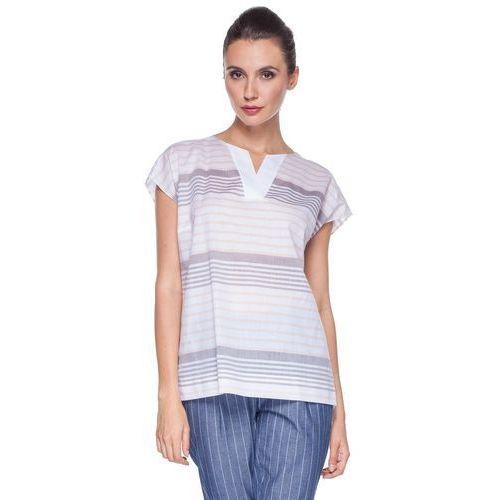 Pudełkowa bluzka w paski - Duet Woman, 1 rozmiar
