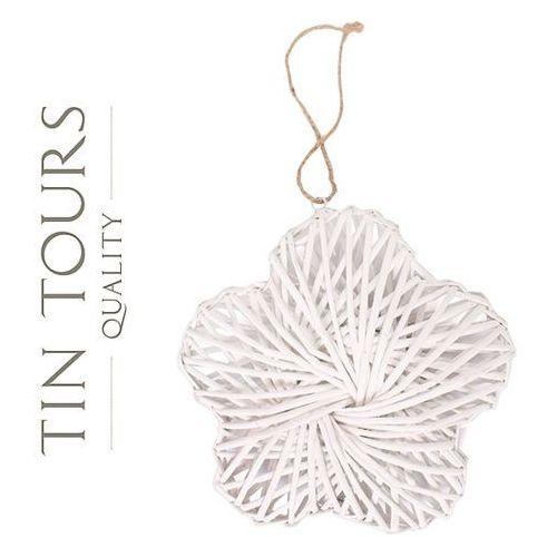 Biały wiklinowy kwiatek/ ozdobna zawieszka 32x32x8 cm marki Tin tours sp.z o.o.