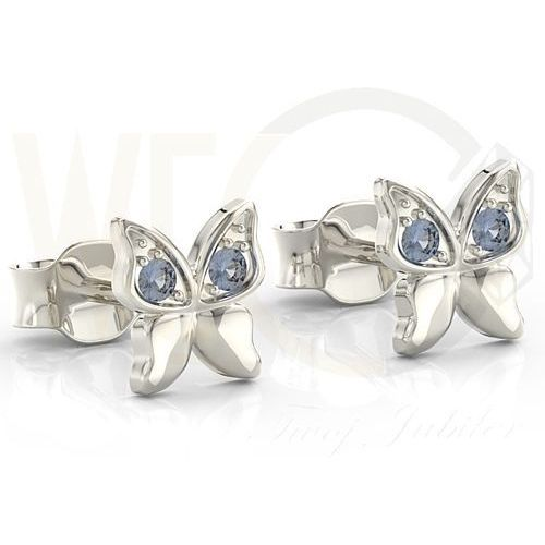 Węc - twój jubiler Kolczyki motylki z białego złota z niebieskimi cyrkoniami bpk-88b-c - białe