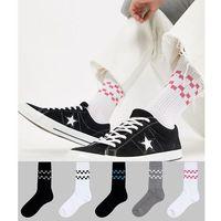 ASOS DESIGN Sports Style Socks With Cherkerboard Stripes 5 Pack - White, kolor biały