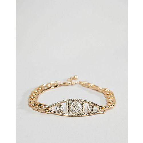 Asos design vintage style medallion chain bracelet in gold - gold