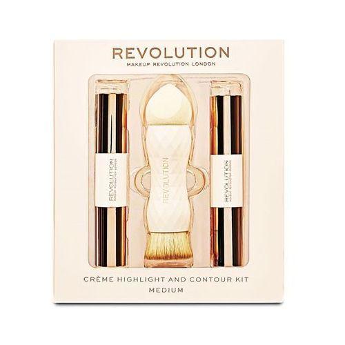 london crème highlight and contour kit zestaw sztyft do konturowania 3,5 g + rozświetlacz 3,5 g + gąbka i pędzel 2w1 1 szt w medium marki Makeup revolution