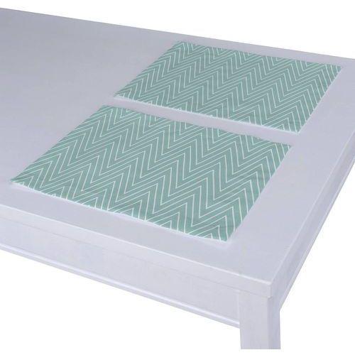 Dekoria podkładka 2 sztuki, białe zygzaki na miętowym tle, 40 x 30 cm, brooklyn