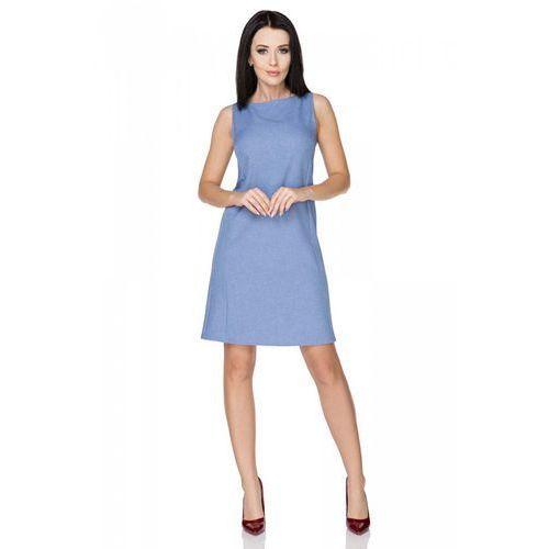 Niebieska sukienka klasyczna bez rękawów marki Tessita
