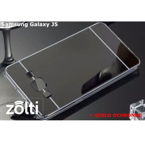 Slim mirror / perfect glass Zestaw | slim mirror case czarny + szkło ochronne perfect glass | etui dla samsung galaxy j5