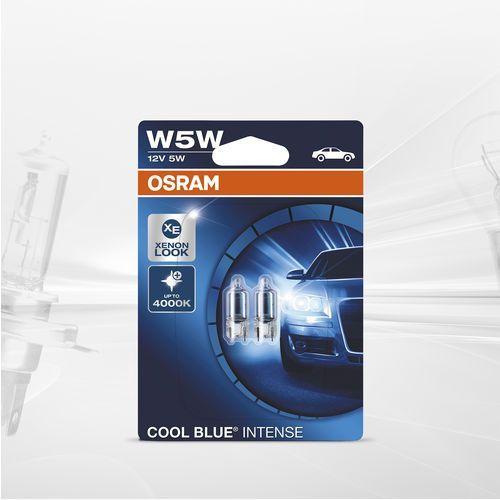 12 v lampy reflektorowe, oryginalne w5w, składane pudełko, cool blue intense, podwójny blister, niebieski marki Osram