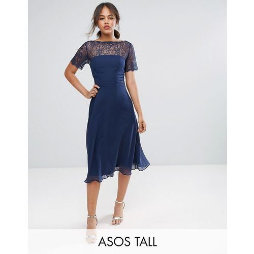 Asos tall  lace insert panelled midi dress - blue