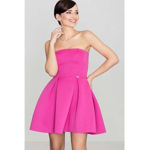 Różowa Wieczorowa sukienka Gorsetowa, wieczorowa