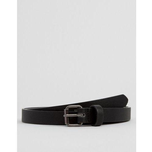 design faux leather super skinny belt in black - black marki Asos
