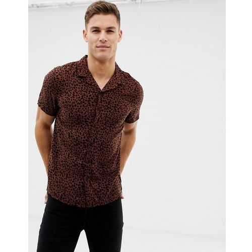 New look viscose shirt with revere collar in leopard print - brown