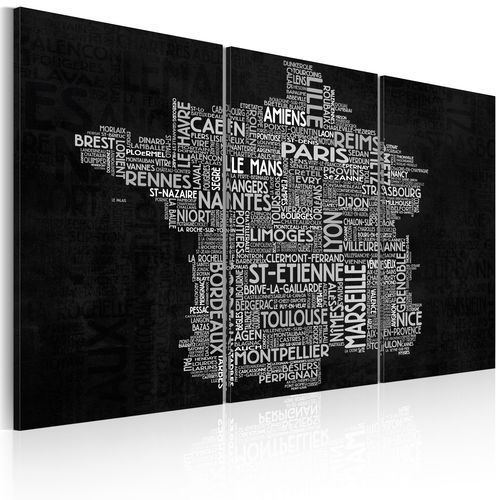 Obraz - Text map of France on the black background - triptych bogata chata
