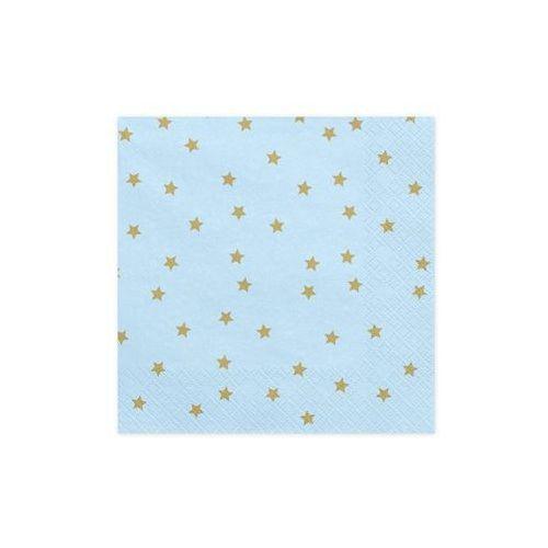 Serwetki urodzinowe niebieskie w złote gwiazdki - 33 cm - 20 szt. (5902230750845)