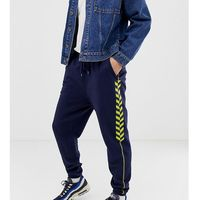 Collusion tapered navy joggers with yellow taping - navy