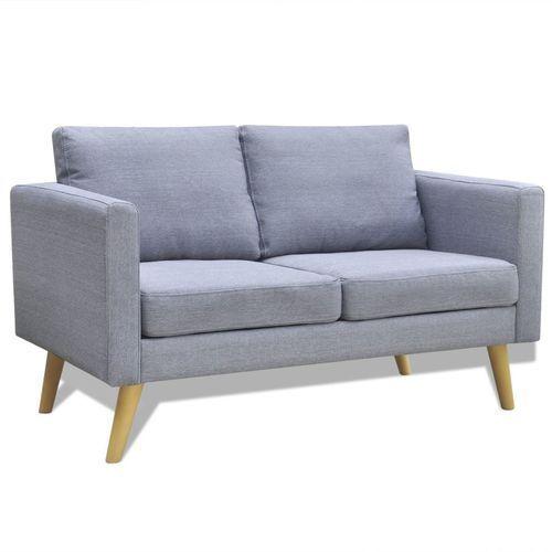 Vidaxl sofa 2-osobowa, materiałowa, jasnoszara (8718475941484)